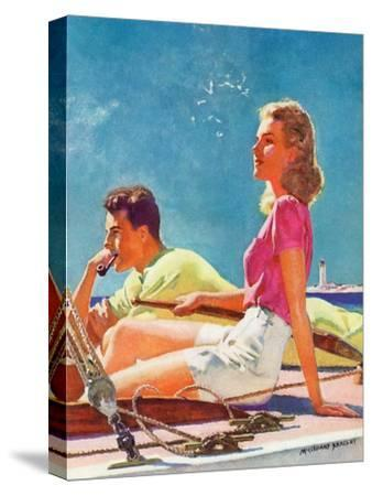 """""""Couple on Sailboat,""""August 1, 1939-McClelland Barclay-Stretched Canvas Print"""