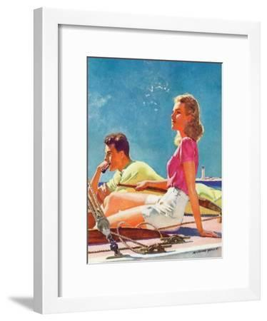 """""""Couple on Sailboat,""""August 1, 1939-McClelland Barclay-Framed Giclee Print"""