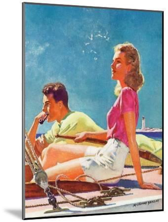 """""""Couple on Sailboat,""""August 1, 1939-McClelland Barclay-Mounted Giclee Print"""