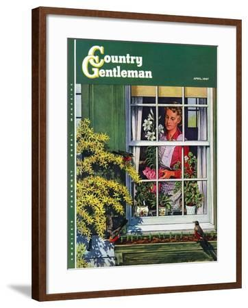 """Signs of Spring,"" Country Gentleman Cover, April 1, 1947-Rudy Pott-Framed Giclee Print"