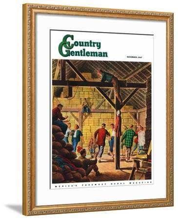 """""""Square Dance in the Barn,"""" Country Gentleman Cover, November 1, 1947-W^W^ Calvert-Framed Giclee Print"""