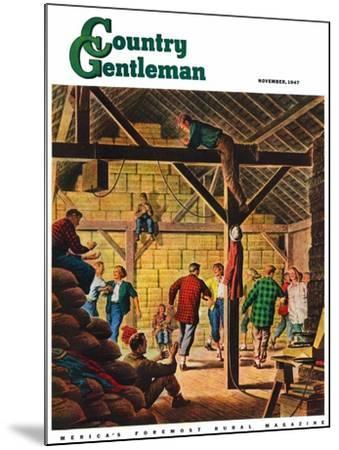 """""""Square Dance in the Barn,"""" Country Gentleman Cover, November 1, 1947-W^W^ Calvert-Mounted Giclee Print"""
