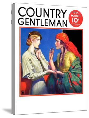 """""""Fortune Teller,"""" Country Gentleman Cover, March 1, 1934-Wladyslaw Benda-Stretched Canvas Print"""