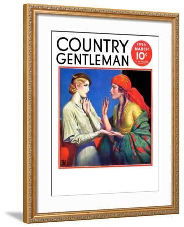 """""""Fortune Teller,"""" Country Gentleman Cover, March 1, 1934-Wladyslaw Benda-Framed Giclee Print"""