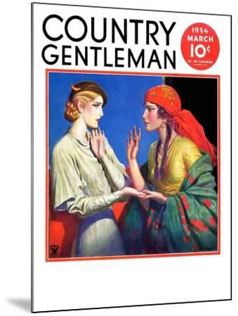 """""""Fortune Teller,"""" Country Gentleman Cover, March 1, 1934-Wladyslaw Benda-Mounted Giclee Print"""