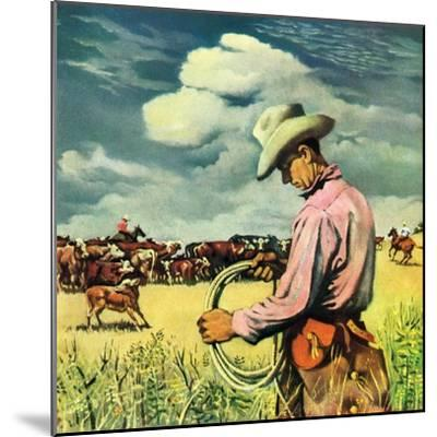 """Herding Cattle,""January 1, 1942-George Schreiber-Mounted Giclee Print"