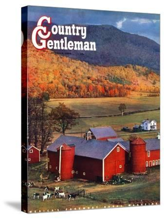 """""""Red Barns and Silos,"""" Country Gentleman Cover, October 1, 1949-W^C^ Griffith-Stretched Canvas Print"""