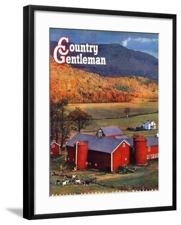"""""""Red Barns and Silos,"""" Country Gentleman Cover, October 1, 1949-W^C^ Griffith-Framed Giclee Print"""