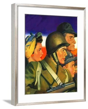 """""""We're All Important Now,""""January 1, 1943-Andrew Loomis-Framed Giclee Print"""