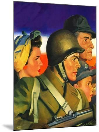 """""""We're All Important Now,""""January 1, 1943-Andrew Loomis-Mounted Giclee Print"""