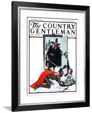 """Mohawk Indian Playing with Pilgrim Baby,"" Country Gentleman Cover, November 29, 1924-William Meade Prince-Framed Giclee Print"