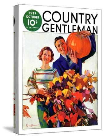 """Couple in Fall,"" Country Gentleman Cover, October 1, 1935-F. Sands Brunner-Stretched Canvas Print"