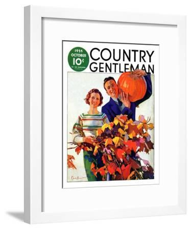 """Couple in Fall,"" Country Gentleman Cover, October 1, 1935-F. Sands Brunner-Framed Giclee Print"
