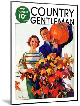 """Couple in Fall,"" Country Gentleman Cover, October 1, 1935-F. Sands Brunner-Mounted Giclee Print"