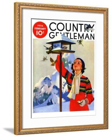 """Feeding the Birds,"" Country Gentleman Cover, February 1, 1936-Jack Murray-Framed Giclee Print"