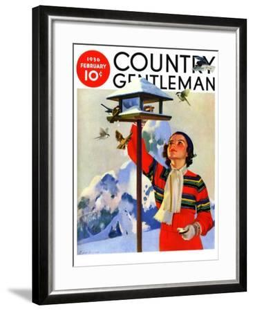 """Feeding the Birds,"" Country Gentleman Cover, February 1, 1936-Jack Murray-Framed Giclee Print"