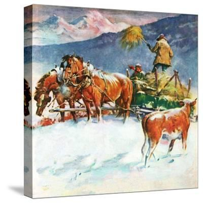 """Feeding Herd in Winter,""March 1, 1945-Matt Clark-Stretched Canvas Print"