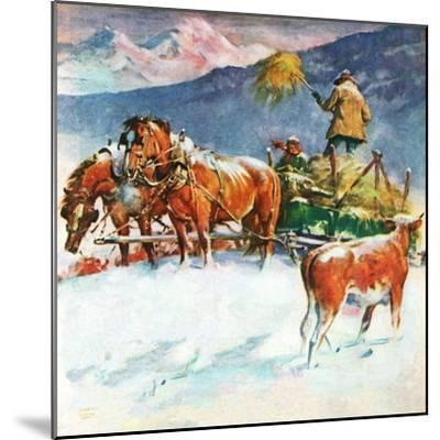 """Feeding Herd in Winter,""March 1, 1945-Matt Clark-Mounted Giclee Print"