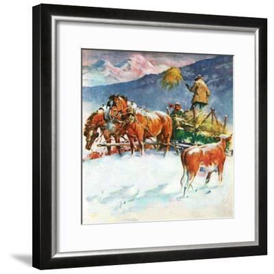 """""""Feeding Herd in Winter,""""March 1, 1945-Matt Clark-Framed Giclee Print"""