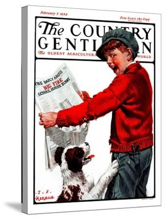 """""""Big Fire, Schoolhouse Burnt,"""" Country Gentleman Cover, February 7, 1925-J^F^ Kernan-Stretched Canvas Print"""