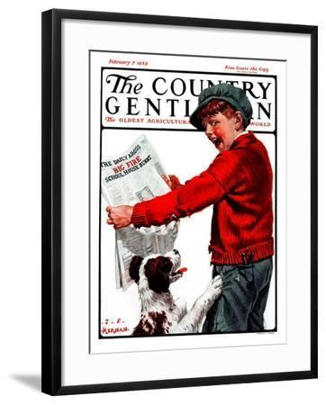 """Big Fire, Schoolhouse Burnt,"" Country Gentleman Cover, February 7, 1925-J^F^ Kernan-Framed Giclee Print"