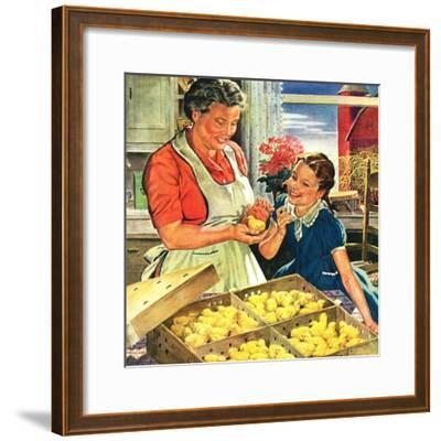 """""""Crate of New Baby Chicks,""""April 1, 1945-W^C^ Griffith-Framed Giclee Print"""