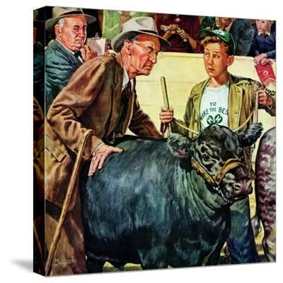 """Cattle Judging,""November 1, 1946-W^C^ Griffith-Stretched Canvas Print"