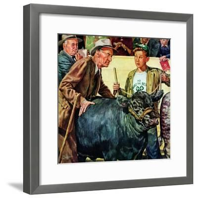 """Cattle Judging,""November 1, 1946-W^C^ Griffith-Framed Giclee Print"