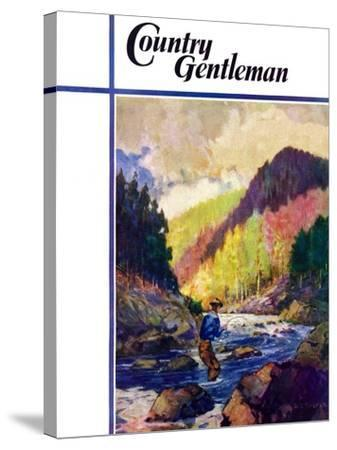 """""""Mountain Stream Fishing,"""" Country Gentleman Cover, May 1, 1938-Q. Marks-Stretched Canvas Print"""