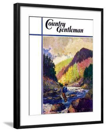 """""""Mountain Stream Fishing,"""" Country Gentleman Cover, May 1, 1938-Q. Marks-Framed Giclee Print"""
