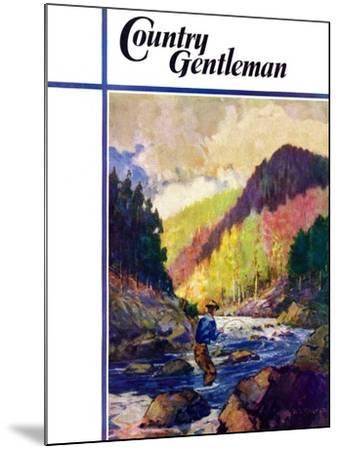 """""""Mountain Stream Fishing,"""" Country Gentleman Cover, May 1, 1938-Q. Marks-Mounted Giclee Print"""
