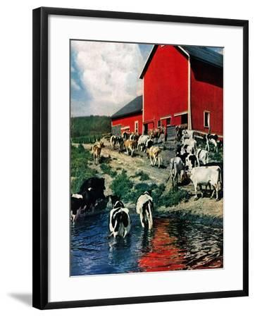 """When the Cows Come Home,""August 1, 1948-J. Julius Fanta-Framed Giclee Print"