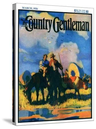 """""""Wagon Train,"""" Country Gentleman Cover, March 1, 1926-R.W. Crowther-Stretched Canvas Print"""