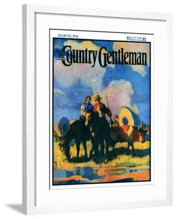 """""""Wagon Train,"""" Country Gentleman Cover, March 1, 1926-R.W. Crowther-Framed Giclee Print"""
