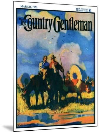 """""""Wagon Train,"""" Country Gentleman Cover, March 1, 1926-R.W. Crowther-Mounted Giclee Print"""