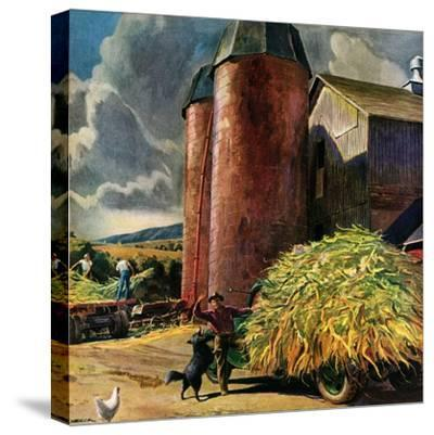 """""""Corn Silos,""""September 1, 1950-Peter Helck-Stretched Canvas Print"""