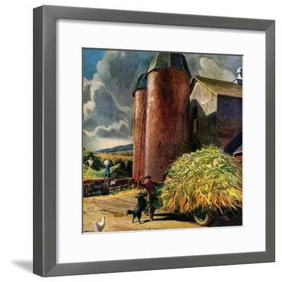 """Corn Silos,""September 1, 1950-Peter Helck-Framed Giclee Print"