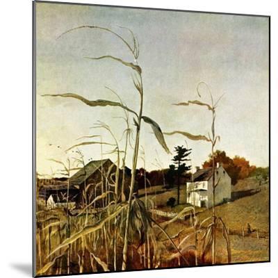 """Autumn Cornfield,""October 1, 1950-Andrew Wyeth-Mounted Premium Giclee Print"
