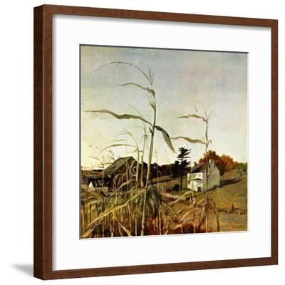 """Autumn Cornfield,""October 1, 1950-Andrew Wyeth-Framed Premium Giclee Print"