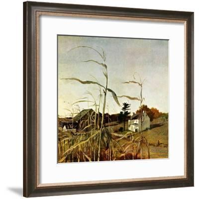 """Autumn Cornfield,""October 1, 1950-Andrew Wyeth-Framed Giclee Print"