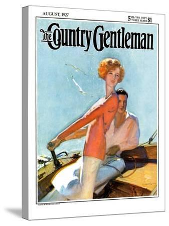 """""""Couple Sailing,"""" Country Gentleman Cover, August 1, 1927-McClelland Barclay-Stretched Canvas Print"""
