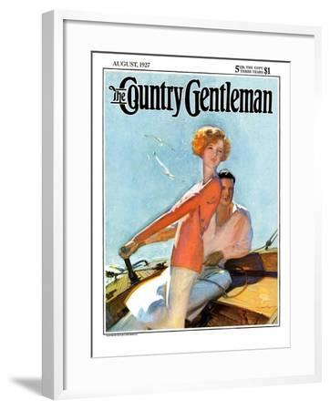 """""""Couple Sailing,"""" Country Gentleman Cover, August 1, 1927-McClelland Barclay-Framed Giclee Print"""