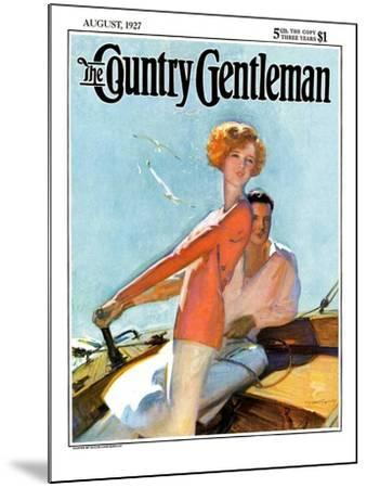 """""""Couple Sailing,"""" Country Gentleman Cover, August 1, 1927-McClelland Barclay-Mounted Giclee Print"""
