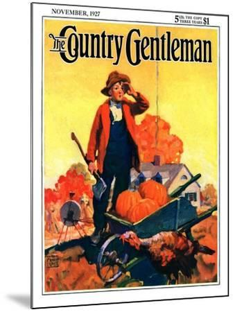 """""""Where's That Turkey?,"""" Country Gentleman Cover, November 1, 1927-William Meade Prince-Mounted Giclee Print"""