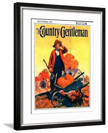 """""""Where's That Turkey?,"""" Country Gentleman Cover, November 1, 1927-William Meade Prince-Framed Giclee Print"""