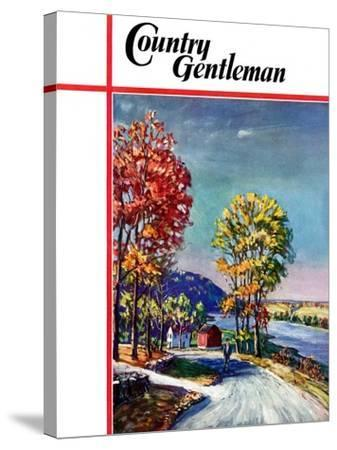 """""""Walking on Country Road,"""" Country Gentleman Cover, October 1, 1939-Walter Baum-Stretched Canvas Print"""
