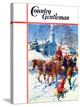 """""""Sleigh Ride Through Town,"""" Country Gentleman Cover, December 1, 1939-William Meade Prince-Stretched Canvas Print"""