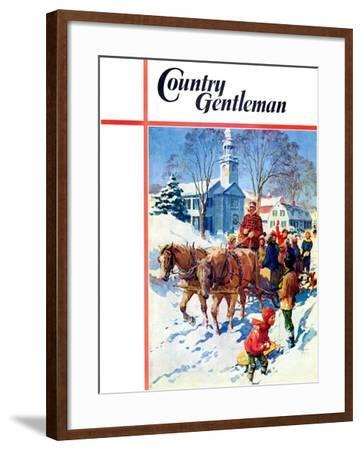 """""""Sleigh Ride Through Town,"""" Country Gentleman Cover, December 1, 1939-William Meade Prince-Framed Giclee Print"""