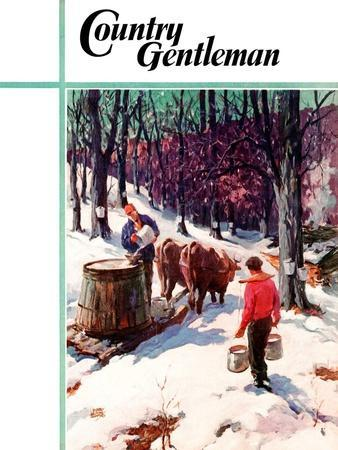 """""""Harvesting Maple Sap,"""" Country Gentleman Cover, March 1, 1940-B. Summers-Framed Giclee Print"""