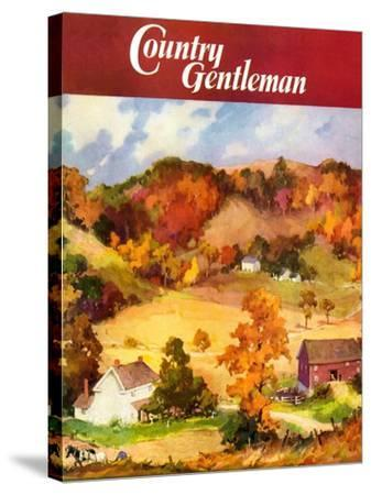 """""""Farm Landscape,"""" Country Gentleman Cover, November 1, 1940--Stretched Canvas Print"""